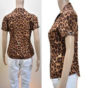 Express Animal Print Metal Buckles Shirt